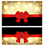 Christmas glossy cards with gift bows and roses