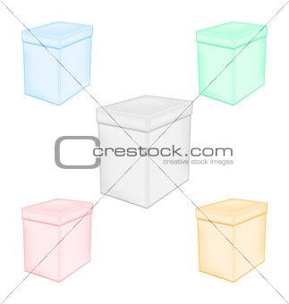 Group colorful closed unprinted boxes