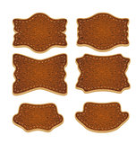Set of leather labels isolated
