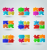 Collection abstract colorful puzzle pieces