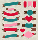 Collection ribbons, vintage labels, geometric emblems
