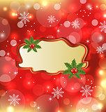 Template frame with mistletoe for design christmas card