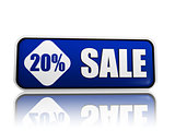 20 percentage off sale blue banner