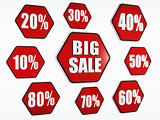 big sale and percentages buttons