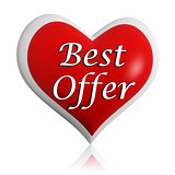 valentines best offer red heart banner