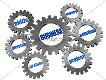 business concept in silver grey gearwheels