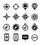 GPS navigation, wind rose, compass icons set