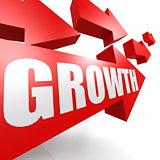 Growth arrow in red