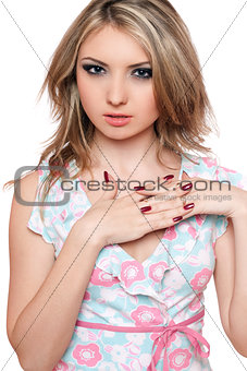 Portrait of attractive young blonde. Isolated