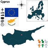 Map of Cyprus with European Union