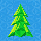 abstract green christmas tree on blue