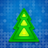 abstract rounded green christmas tree on blue