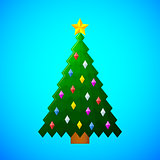 christmas tree with decorations on blue background