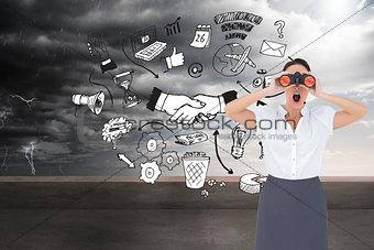 Composite image of shocked elegant businesswoman looking through binoculars