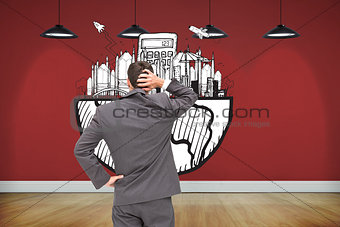 Composite image of young businessman standing back to camera scratching his head
