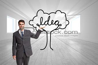 Composite image of happy businessman presenting