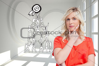 Composite image of teenager standing upright thoughtfully with her fingers on her chin
