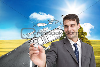 Composite image of young businessman writing something