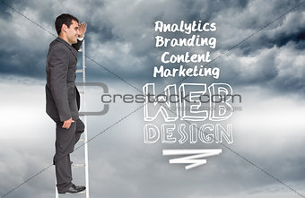 Composite image of happy businessman standing on ladder