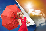 Composite image of smiling blonde holding umbrella