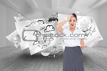 Composite image of shocked classy businesswoman holding newspaper