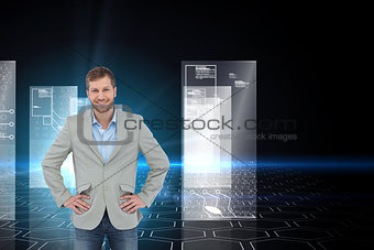 Composite image of stylish man smiling with hands on hips