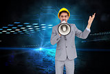 Composite image of architect with hard hat shouting with a megaphone