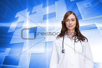 Composite image of happy doctor looking at camera