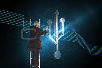 Composite image of mature businessman climbing career ladder
