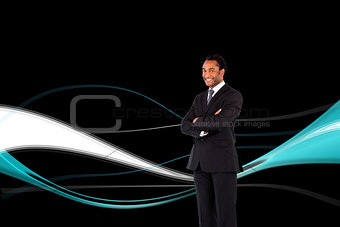 Composite image of businessman with folded arms