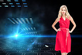 Composite image of elegant blonde standing hands on hips