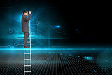 Composite image of businessman standing on ladder using binoculars