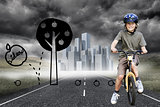 Composite image of little boy with his bike in a park