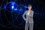 Composite image of attractive businesswoman holding tablet pc