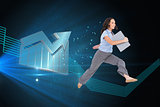 Composite image of cheerful classy businesswoman jumping while holding clipboard
