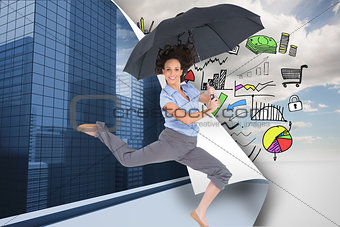 Composite image of happy classy businesswoman jumping while holding umbrella