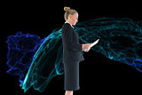 Composite image of businesswoman holding new tablet