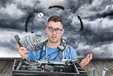 Composite image of confused it professional with cables and phone in front of open cpu