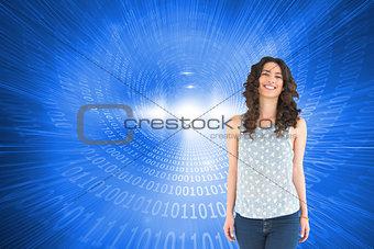 Composite image of smiling beautiful brunette posing