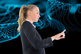 Composite image of businesswoman pointing somewhere