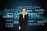 Composite image of good looking woman in suit using headphones and posing
