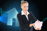 Composite image of businesswoman holding piggy bank