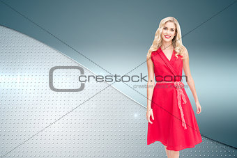 Composite image of smiling blonde walking