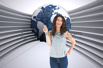 Composite image of happy beautiful brunette posing
