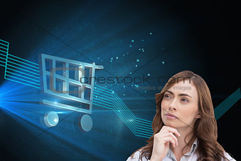 Composite image of thoughtful doctor looking away