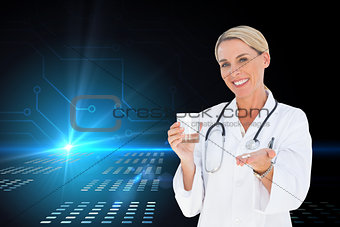 Composite image of happy doctor holding out pills and water glass