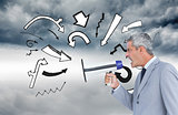 Composite image of businessman shouting in loudspeaker