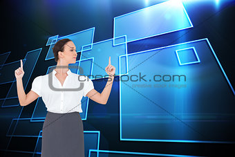 Composite image of content gorgeous businesswoman posing