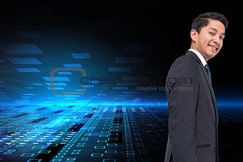 Composite image of squares on futuristic background