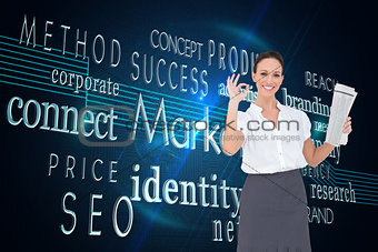 Composite image of stylish businesswoman making gesture while holding newspaper